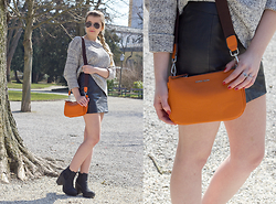 Elina Wagner - Mango Orange Crossbody, Mango Sweater, H&M Leather Skirt, H&M Boots, Shop Dixi Rings - Bright Accents