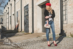 Tatjana Jovanovic - Calvin Klein Leather Jacket, Zara T Shirt, Zara Jeans - Red beret