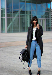 Vivian Tse - Pull & Bear Mom Jeans, Pull & Bear Duster Coat, Mango Leather Jacket, Mango Top, Zara Rucksack, Mango Mules - Mom jeans and dancing hair