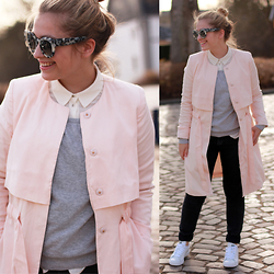 Jille Pille - Gina Tricot Trench, Stan Smith Sneakers, Valley Eyewear Sunnies - Pastel love