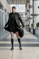 Geraint Donovan-Bowen - Zara Blazer, The Freak Show Maxi Dress, J W Anderson Shorts, Item M6 Knee High Socks, Topman Cutout Shoes - His Name Is A Dirge