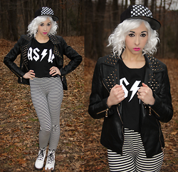 Lauren H - Killstar As If Crop Top, Forever 21 Striped Leggings, Forever 21 Spiked Moto Jacket, Dr. Martens White Patent Boots - Ain't No Rest For The Wicked