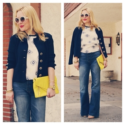 Zia Domic - Yigal Azrouel Embroidered Top, St John Knit Jacket, 7 For All Mankind Wide Leg Jeans - Deliver