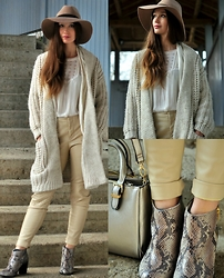 Sandra G - C&A Beige Hat, Zara White Knit Jacket, Zara White Lace Top, Zara Beige Leather Pants, Buffalo Metallic Snakeprint Boots, Accessorize Metallic Gold Bag - Neutral Shades