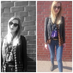 Nadja Firefly - Electric Wizard Shirt, Monki Checked Shirt, Monki High Waist Jeans, Vintage Boots - Sun.