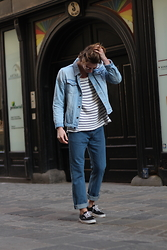Richy Koll - Vans Sneakers, H&M Over Size Jeans, H&M Marine T Shirt, Zara Jeans Jacket, Ray Ban Glasses - Basics