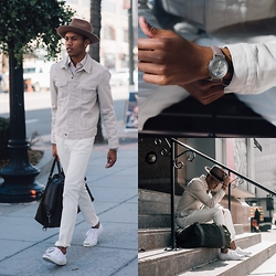 Justin T - H&M Denim Jacket, H&M Twill Pant, Brixton 'Swindle' Fedora, Van Sicklen Watch, Banana Republic Weekender, Converse Jack Purcell - Natural White