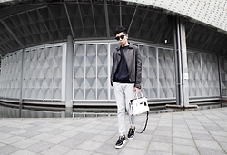 Curtis Yu - Dresscodetw Leather Jacket, Zara Sweatshirt, Zara Jeans, Opening Ceremony Shoes, Coach Swagger Bag, Balenciaga Sunglasses - Never Mind