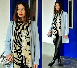 Sandra G - H&M Babyblue Coat, H&M Black And White Scarf, H&M Striped Top, Review Black Leather Pants - Babyblue Coat and Stripes