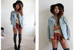 Alexis Brooks - Calico Wide Brim Hat, Unif Cat Denim Jacket, Forever 21 Statement Necklace, American Apparel Mesh Shirt - SHORT AND SIMPLE