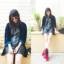 Valerie Samantha - Topshop Black Leather Dress, Unif Hellbound, New Look In The Name Of Firaun, Forever 21 Round Sunglasses, Nikicio Blue Velvet Kimono - Its Over