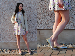 Rachel Glennie - Oasis Floral Skater Dress, New York & Company Cream Leather Jacket, Zara Ombre Glitter Ballet Pumps - Floral Feelings