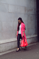 KaoriAnne Jolliffe - Paul's Boutique London Ltd. Bag, Zara Trousers - NEON PINK COLOUR POP