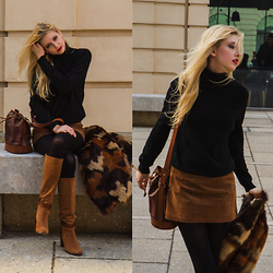 Eleonore Marie Stifter - Eric Bompard Cashmere Turtle Neck, Asos Suede Skirt, Escada Bucket Bag, Massimo Dutti Boots, Michael Kors Fake Fur Coat - Shades of Brown