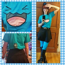Danielle B. - The Pokémon Company Wobuffet Tshirt, Blue Flower Clips, Rue 21 Black Skater Skirt, Sock Dreams Turquoise Opaque Tights, Rue 21 Black Knee High Boots - Wobu-Wobuffet!