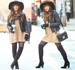 Daniela Ramirez - Dailylook Dress, Guess? Boots, H&M Hat - Bands for the day...