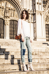 Margot Thibaut - Denim & Supply Blouse, Reiko Patchwork Jeans, What For Heels - White lace
