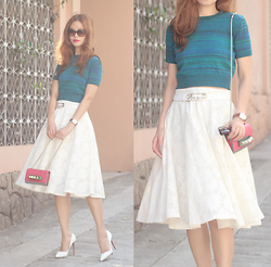 Mayo Wo - Cartier Sunnies, American Apparel Space Dye Knit, Chic Wish Full Lace Midi Skirt - Spring bud