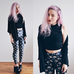 Nika N. - Black Milk Clothing Eye See You Leggings, Yru Dream, H&M Kimono - Eye see you
