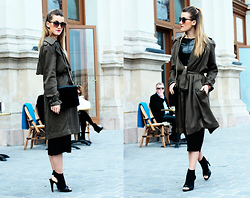 Nati Drencseva - F&F Coat, Zara Heels, Nana's Crop Top, Stradivarius Bag, Promod Sunnies - Fashion Week Budapest #firstoutfit