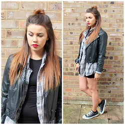 Jessica Sheppard - Missguided Racer Back Bodycon, Elizabeth Arden Red Door Red Lipstick, Barneys Leather Biker Jacket, Blue Rinse Flannel Shirt, Converse - LAYERED DRESS.