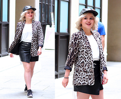 Allison K - Zara Blazer, Forever 21 Leather Skirt, Nike Sneakers - Animals We Are