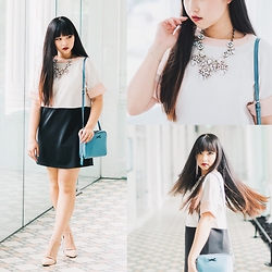 Rachel Koh - Bimba And Lola Crossbody Bag, Asos Nude Pumps, Girls On Film Shift Dress, Indiesin Statement Necklace, Nars Dolce Vita - Banking on the Basics