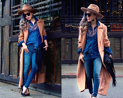 Aika Y - Asos Camel Oversized Fedora, Asos Oversized Coat, Forever 21 Chambray Shirt, Free People Skinny Jeans, Cherry Footwear Pointy Heels, Ebay Fringe Bag, Polette Sunnies - Camel + Denim on Denim