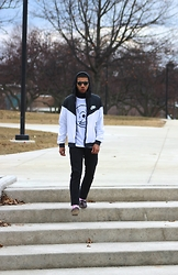 Donovan Alexander - Cheap Monday Skull Tee, Nike Windbreaker, Fred Perry Turtleneck, Levi's® Black Jeans, Ralph Lauren Pink Socks, Cole Haan Penny Loafers, Byther Eyewear - Charles Narcley