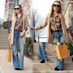 Anya R. - Fossil Sunglasses, Mango Cardigan, Ralph Lauren Shirt, Ralph Lauren Flared Jeans, Ripani Tote Bag, Bcbg Platform Boots - Flared Jeans With Multi Color Shirt