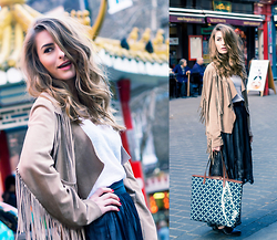Denisia A. - Land's End Shopper, H&M Lace Skirt, H&M White T Shirt, Laundry Boutique Fringed Jacket - Greetings from Chinatown, London