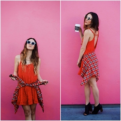 Ashley Prybycien - Others Follow Red Dress, Forever 21 Chain Jewel Necklace, Forever 21 Lovers Flannel, Zerouv Trendy Indie Hipster Sunnies - Be Mine X Others Follow
