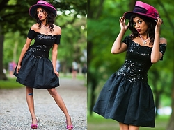 Menaka Iyer - Sequin Black Dress, Pink Fancy Hat, Madeline Pink And Coral Bow Pumps - If I wanted flakey, I'd be eating a pastry.