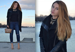 Martina Manolcheva - Mango Blouse, Zara Ripped Jeans, Choies Necklace, Beige Shoes, Beige Bag - Simple Chic