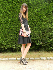 Constance A - Figl Black Dress, Rosegal Pink Clutch - Little black dress