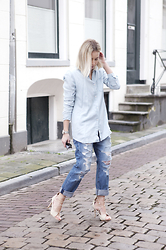 Lian G. - Modstrom Blouse, Current Elloitt Jeans, Nelly Heels - Double Denim