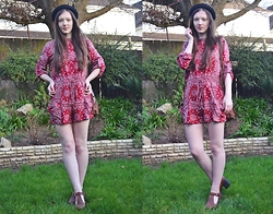 Nina JC - Naanaa Vanessa Boho Folk Print Playsuit, River Island Tan Chunky Cleated Sole T Bar Shoes, H&M Black Bowler Hat - 70s Boho Folk Print