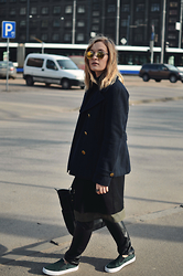 Laura Alksne - Christian Dior Sunglasses, Lindex Coat, Reserved Bag, Lindex Faux Leather Trousers, Asos Plimsolls, Alksne Dress, Alksne Dress - ON THE MOVE