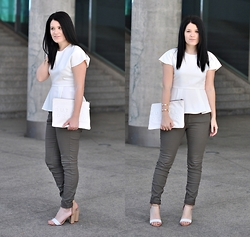 Lucia Gallego - Frontrowshop Top, Zara Pants, Zara Bag, Zara Sandals - Peplum and army green