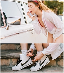 Ms. Morgan Ryan - Calvin Klein Mesh Top, American Apparel One Piece, J. Crew Polka Dot Socks, Nike Classics, Givenchy Tennis Bracelet - Touch Ups & Tennis Shoes
