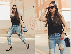 Daniela Ramirez - Lovers + Friends Jeans, Manolo Blahnik Shoes, Danielle Nicole Bag - Ripped jeans and half buns