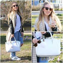 Lilia - Monki Grid Scarf, H&M Leather Jacket, Primark Bag, Pull & Bear Jeans, Adidas Superstar Ii, Bershka White Tee, River Island Sunnies - SPRING x MINIMAL