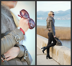 Oksana A - Salvatore Ferragamo Sunglasses, Furla Watch, Patrizia Pepe Jacket - Red accents