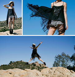 Eunice Kim - Kaii Phoenix Beaded Fringe Top, Vibrant Miu High Waisted Distressed Denim Cutoffs, Feather Fedora, H&M Platform Boots, Edge Iwear Glamour Sunglasses - Coachella Inspired Pt. 1