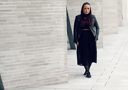 Camila Torres - Blk Dnm Leather Jacket, Blk Dnm Silk Skirt, New Balance Sneakers - NO ROLE MODELS.