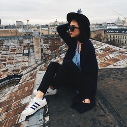 Agnija Grigule - Adidas Superstar Sneakers, Zara Black Trousers, H&M Black Hat - ROOFTOPS