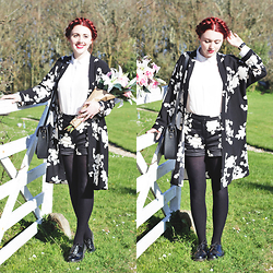 Megan McMinn - Oasis Duster Coat, Oasis Shorts, Dr. Martens Shoes - Shadow Florals.
