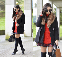 Alba . - Choies Coat - ...Tartan & Black Coat...