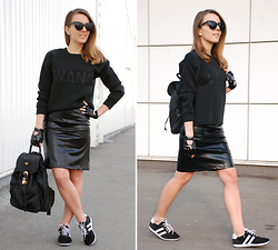 Iren P. - Sheinside Wang Sweatshirt, Cat Eye Matte Sunglasses, Patent Fake Leather Skirt, Fingerless Gloves, Backpack, Oasap Sneakers - WANG SWEATSHIRT