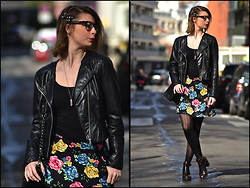 Joanna P. - H&M Perfecto, H&M Top, Asos Flowers Skirt, Express Bag, Zara Boots - So Original